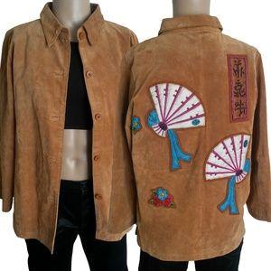 Vintage Rem Garson Beaded Asian Leather Jacket